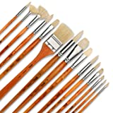 Artify 15 pcs Professional Paint Brush Set Perfect for Oil Painting with a Free Carrying Box (Color: Yellow)