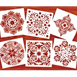 Stencils for Painting on Wood Mandala Stencil (12x12 inches 6 Pieces Large Size) Reusable Wall Floor Tile Fabric Furniture Stencil Laser Cut Painting Template by AK KYC (Color: style 3)