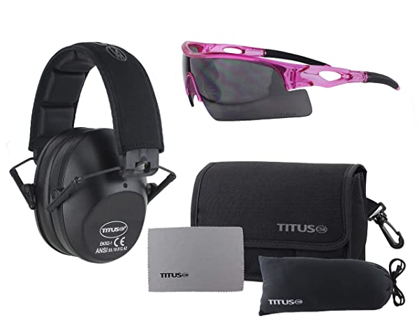 TITUS Slim-line Earmuffs and Safety Glasses Combo Pack (Black, Pink Frame w/Smoke Lens) (Color: Pink Frame w/ Smoke Lens, Tamaño: Black)
