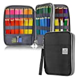 YOUSHARES 192 Slots Colored Pencil Case, Large Capacity Pencil Holder Pen Organizer Bag with Zipper for Prismacolor Watercolor Coloring Pencils, Gel Pens & Markers for Student & Artist (Black) (Color: black)
