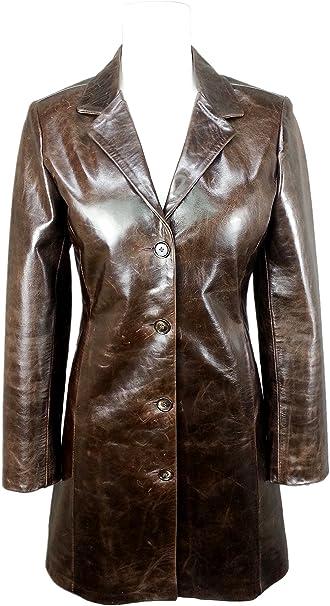 UNICORN Damen Klassische Trenchcoat - Echtleder Jacke - Braun Glasur #HM