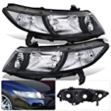 For Honda Civic Coupe 2 Door FG1 FG2 Black Housing Clear Lens Reflector Corner Signal Headlight Head Light Lamp Upgrade Replacement