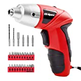 Electric Screwdriver, Hi-Spec DT30317E-US, Cordless Red Tool with Rechargeable 4.8V Battery & LED Light. 26 Piece Accessories for Home DIY Screw-Driving & Fastening - Great Gift Idea (Color: 1)Bright Red)
