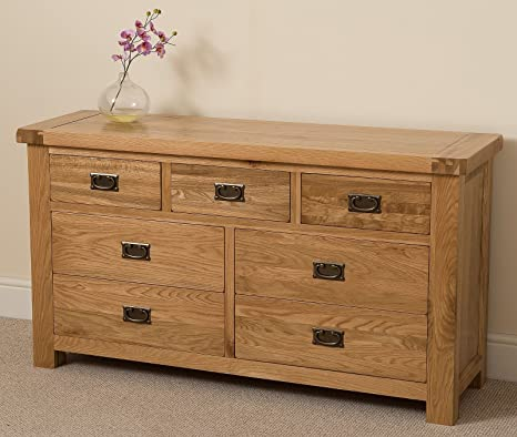 Cottage Solid Oak 3+4 Chest of Drawers, 140 x77 x 43 cm