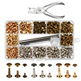 300 Sets 3 Sizes Leather Rivets LANMOK Double Cap Rivet Buttons Press Studs with Pliers and 3 Pieces Fixing Set Tools for Rivets Replacement DIY Craft Repairing Decoration (Color: Leather Rivets)