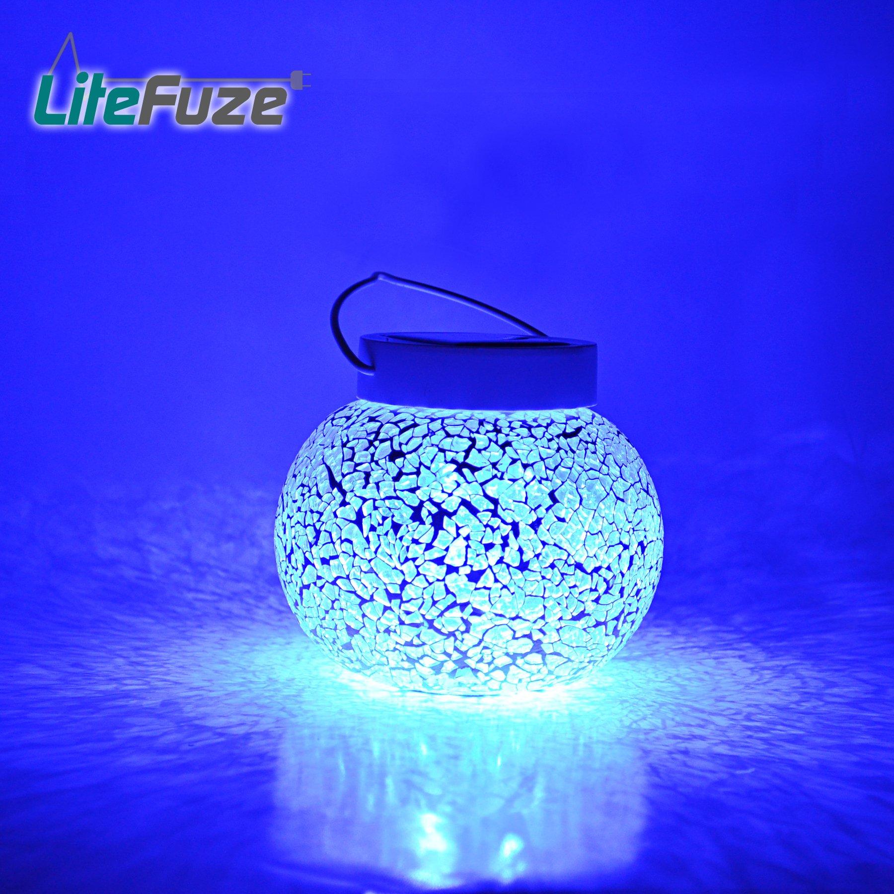 LiteFuze Mosaic Glass Rechargeable Solar Lamp Outdoor