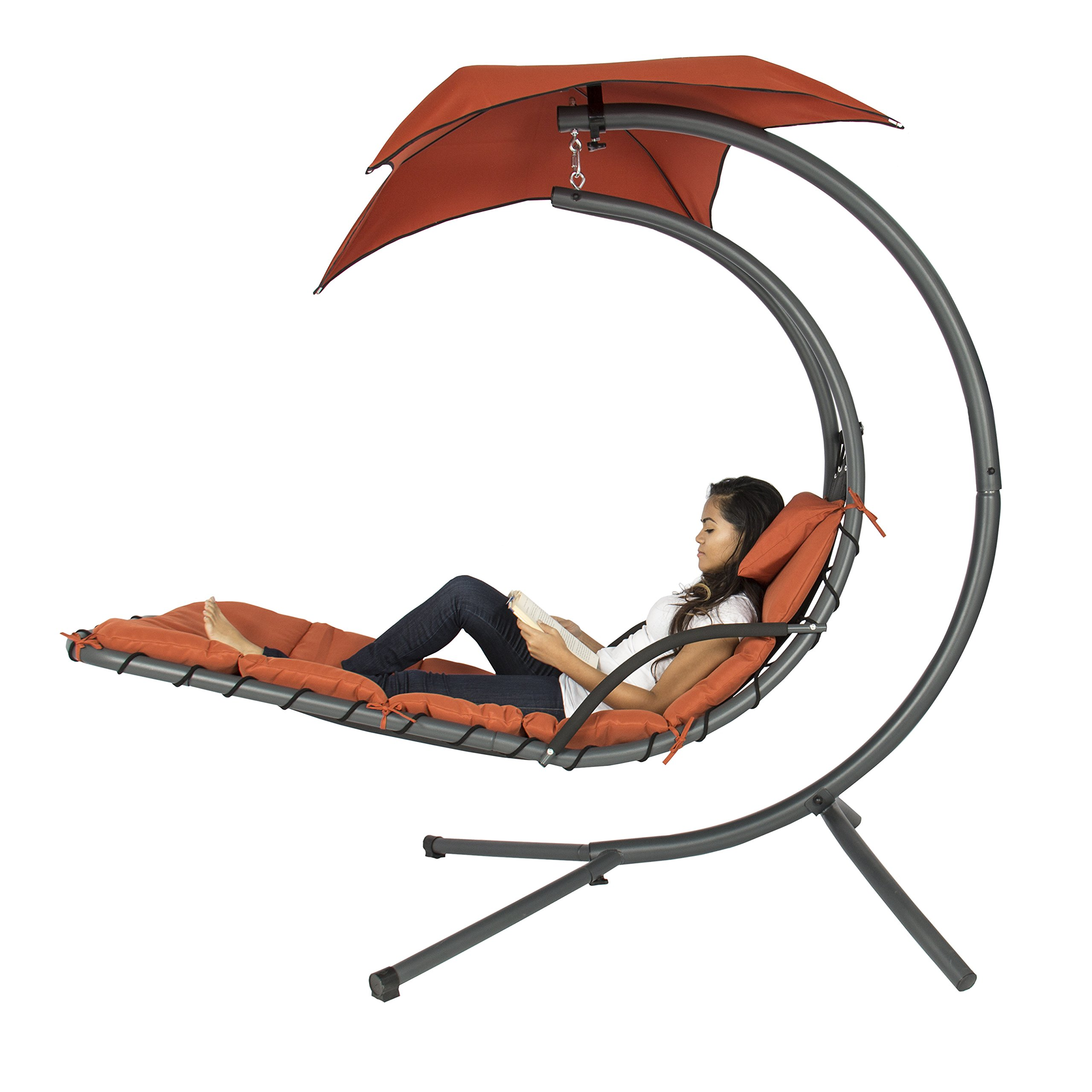 LBest Choice Products presents you this brand new red dream hammock chair. It is made of heavy duty powder coated metal frame and all weather-resist fabric with a pillow, umbrella and cushion, supporting up to 265lbs. The modern design fits with any backyard decor. It comes with build-in 46