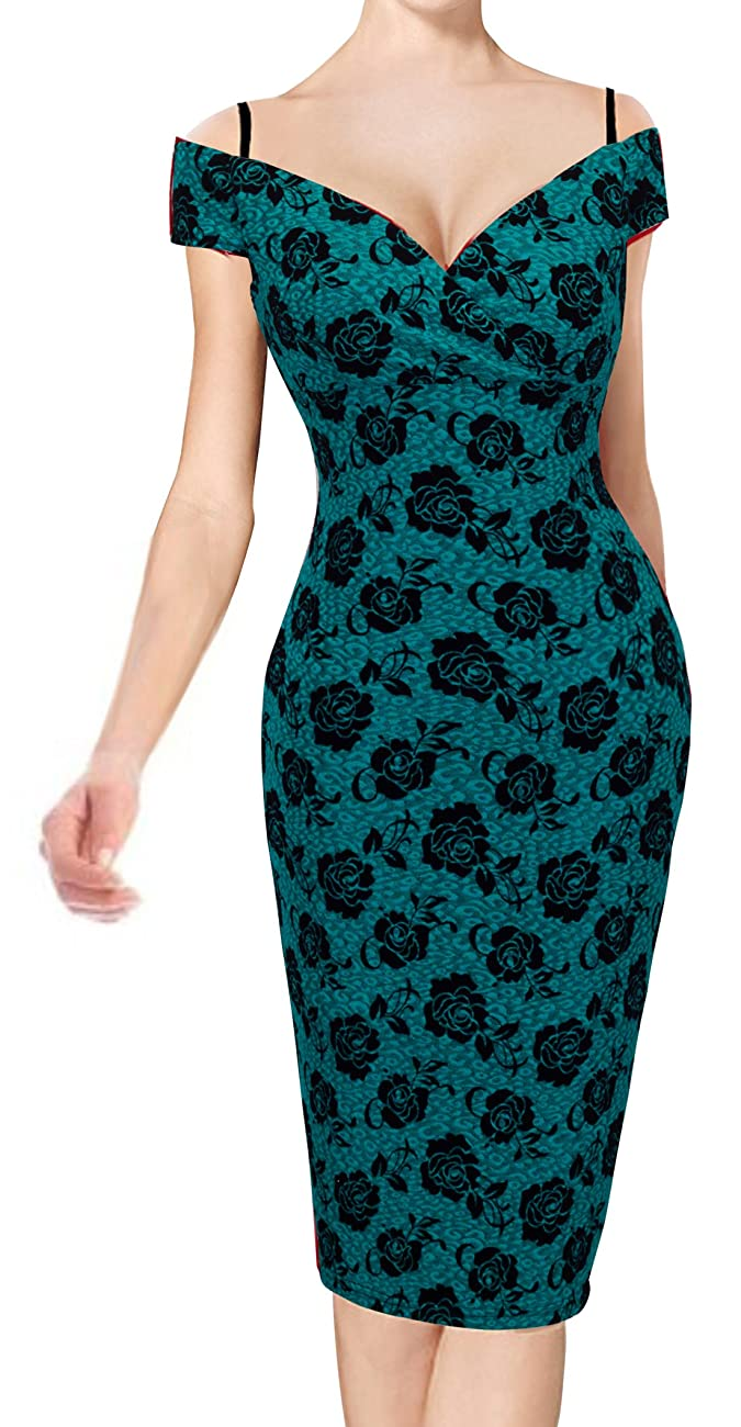 HOMEYEE Women's Vintage Elegant Printed Floral V-Neck Sling Dress B309 2