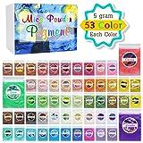 Mica Powder Pure 53 Color - Pearl Epoxy Resin Color Pigment - Cosmetic Grade Slime Coloring Pigment - Natural Soap Dye for Soap Making Supplies Kit, Bath Bomb Colorant, Paint, Nail Art - 0.18oz Each (Color: 5g x 53 Color)