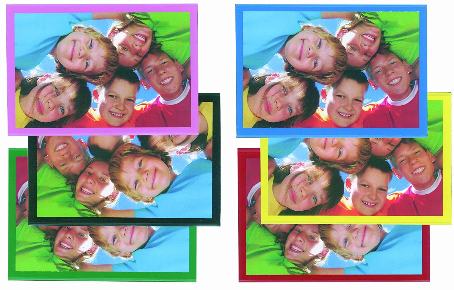 Magtech Magnetic Photo Pockets, Assorted Colors: Black, Blue, Yellow, Pink, Red and Green, Holds 4 x 6 Inches Photos, 6 Pack (99466)