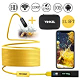 Wireless Endoscope, Snake Camera Inspection Camera Kit 1200P HD IP68 Waterproof in Semi-Rigid Cable for Android and IOS Smartphone with Carrying Case (Yellow 11.5FT) (Color: Yellow 11.5ft)