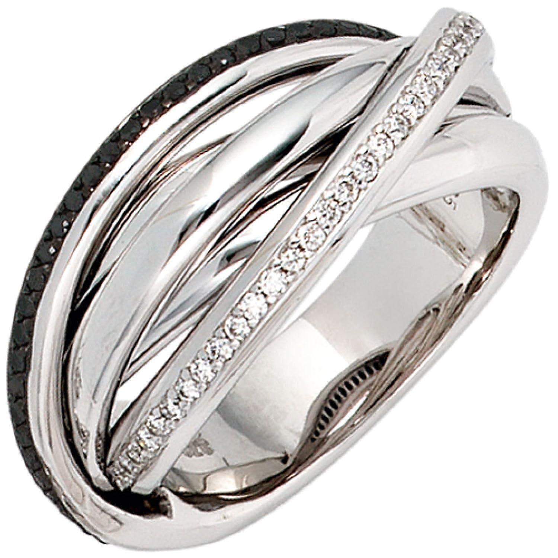 Damen-Ring 585 Weißgold 60 Diamant-Brillanten