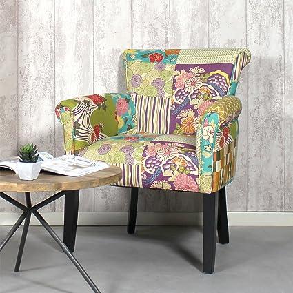 Sillón Tejido Multicolor amarillo Patchwork | ds2025, Floral, 68