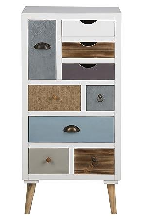 AC Design Furniture 63372 Kommode Suwen mehrfarbigen Schubladen, Beine Kiefernholz, klar lack, 9 Stuck, weiß