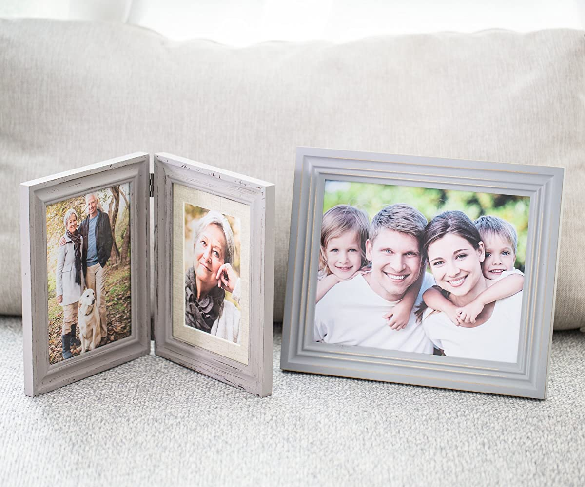 Double Folding 6x8 Lightgray Wood Picture Frame With Glass