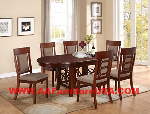 7pc Dining Room Dinette Set Table and 6 Chairs Mahagony Finish