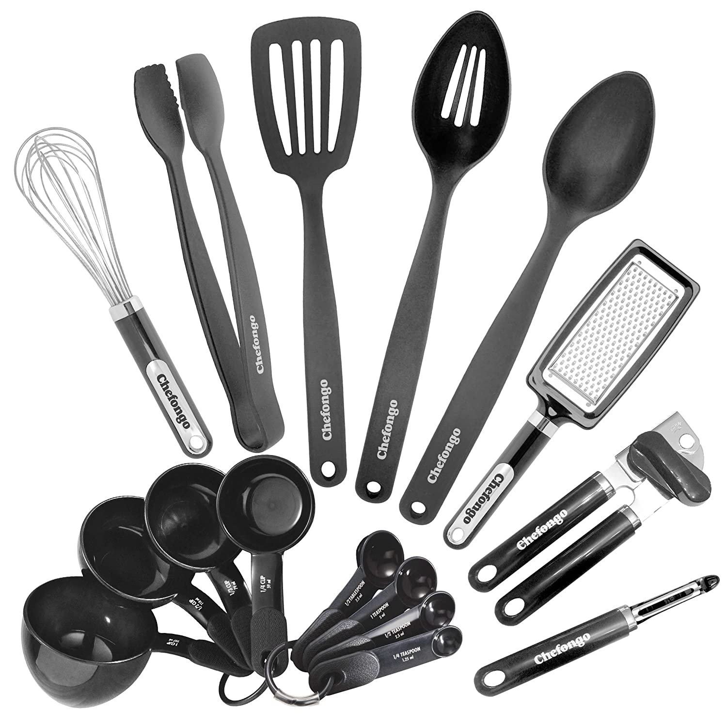 Kitchen Gadgets and Tools - 16 Piece Home Starter Set By Chefongo (Black)