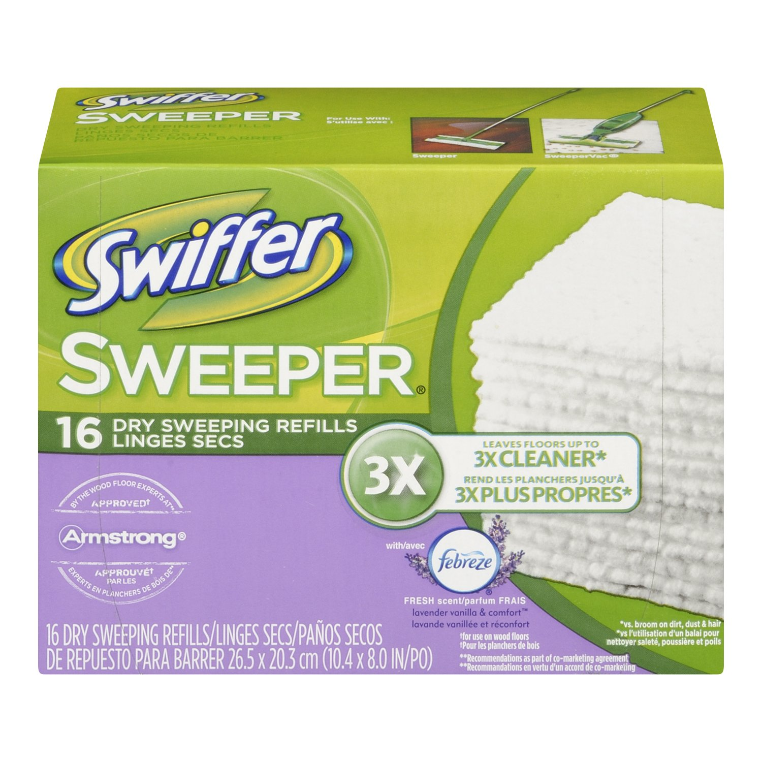 Swiffer Sweeper Dry Sweeping Cloths, Mop and Broom Floor Cleaner Refills, Febreze Lavender Vanilla and Comfort Scent, 16 Count
