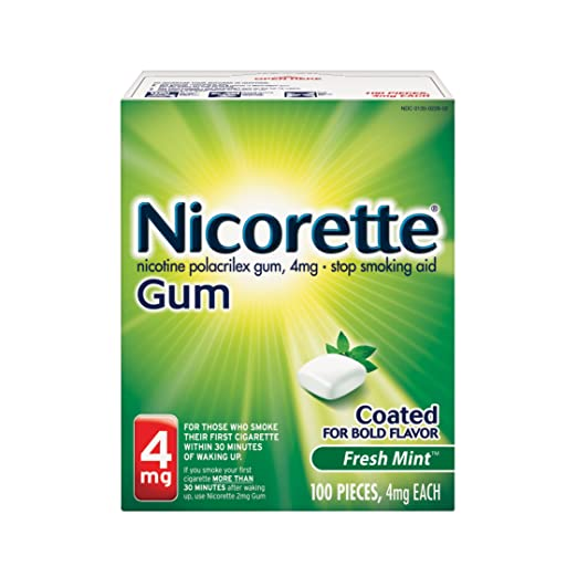 Nicorette Nicotine Gum Fresh Mint 4 milligram Stop Smoking Aid 100 count