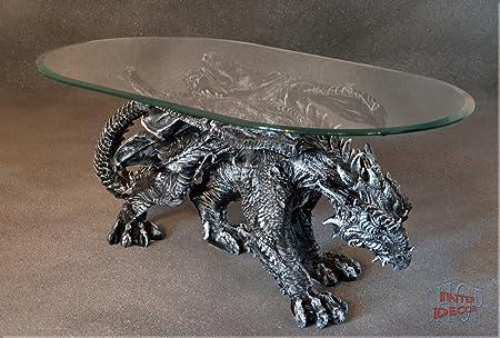 Designer Couchtisch Dragon Gothic ArtDeco Wohnzimmertisch Tisch Glastisch