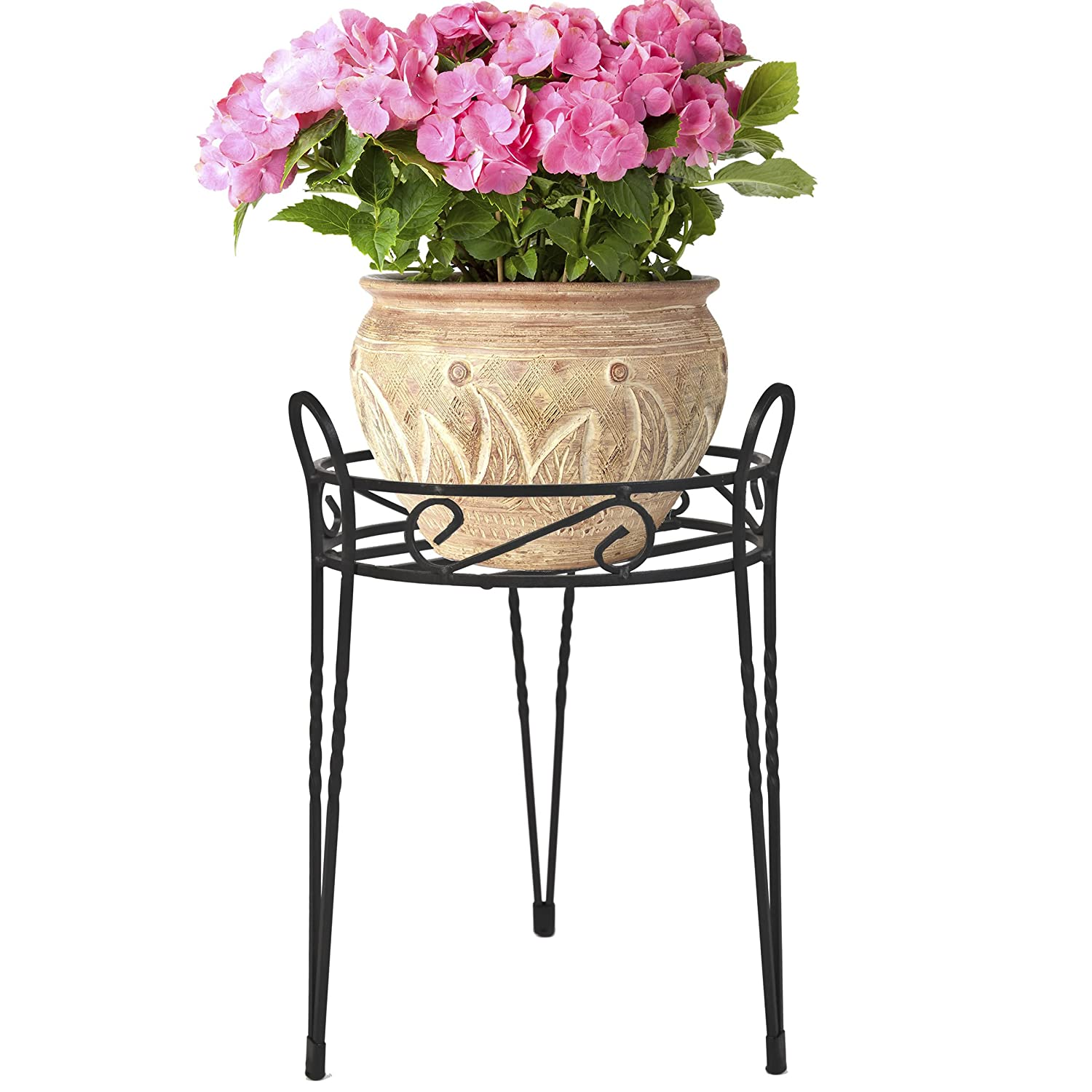 Black Metal Home Garden Decor Flower Pot Plant Planter