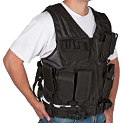 Modern Warrior Tactical Vest with Holster and Pouches - In Camouflage, ACU, Black, Desert, and Teen Sizes