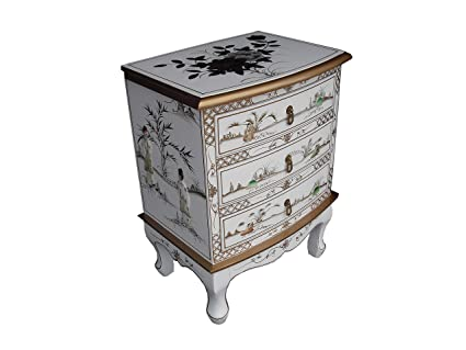 Chinese Oriental Furniture - White Lacquer 3 Drawer Side Chest with Mother of Pearl
