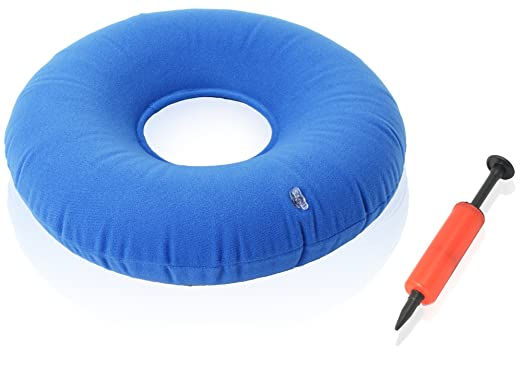 "Dr. Frederick's Original Donut Cushion - 15"" Inflatable Ring Cushion - Comfortable Medical Pillow for Hemorrhoid Treatement, Bed Sores, Coccyx & Tailbone Pain, Pilonidal Cyst, Perineal Pain, Pregnancy, Child Birth, Prostatitis and More - Great for Wheelchairs - Air Pump Included - Blue"