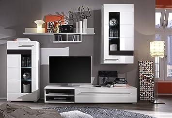 trendteam 1280 947 12 wohnzimmerschrank wohnwand anbauwand mezzo wei melinga eiche dunkel. Black Bedroom Furniture Sets. Home Design Ideas