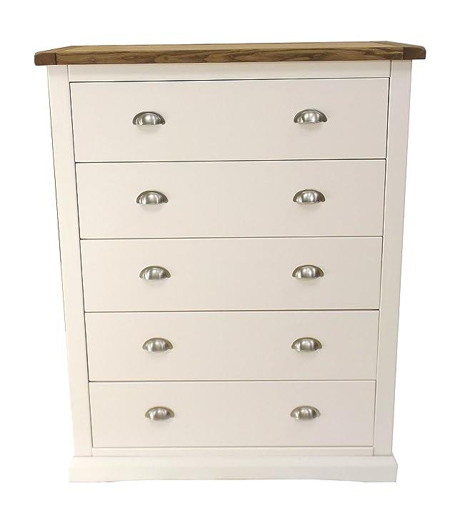 """Armadio punte """"floreale a cassetti con maniglia cromata/smussata, gonna, legno, bianco"""