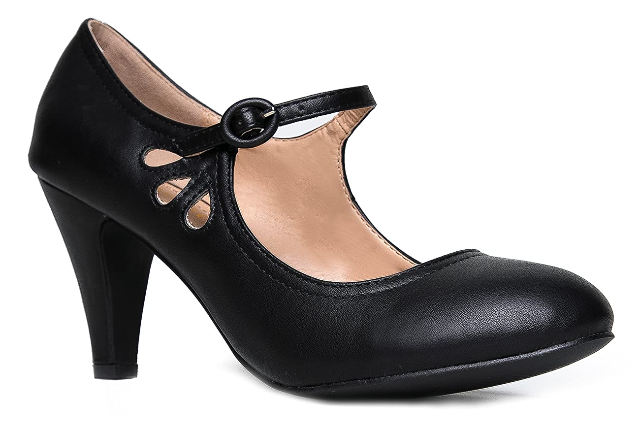 Kitten Heels Mary Jane Pumps By Zooshoo- Adorable Vintage Shoes- Unique Round Toe Design With An Adjustable Strap,Black Pu,5.5 B(M) US 0
