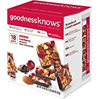 GoodnessKnows Cranberry, Almond and Dark Chocolate Snack Squares Box (18-Count)