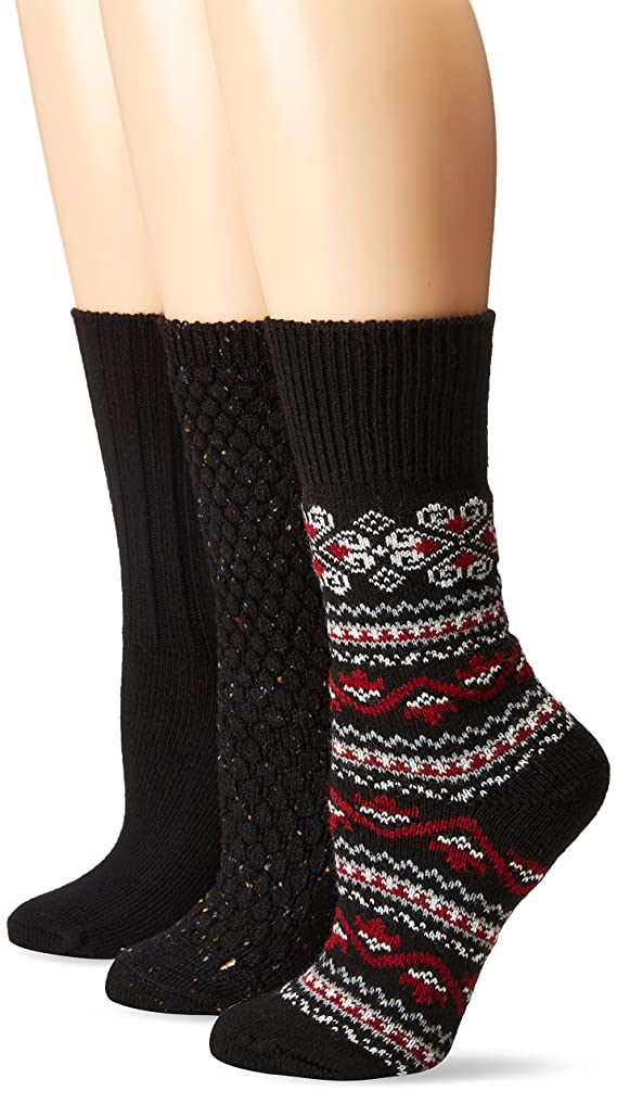Hue Women's Fairisle Cable Quilt 3 Pack Boot Sock
