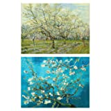 2 Pack DIY 5D Diamond Painting Kits Full Drill Round Rhinestone Embroidery Pictures Arts Craft for Home Wall Decoration, Apricot Blossom Orchard(16X20 inch) (Color: Apricot Blossom Orchard)