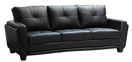Homelegance 9701BLK-3 Dwyer Sofa, Black Vinyl Fabric