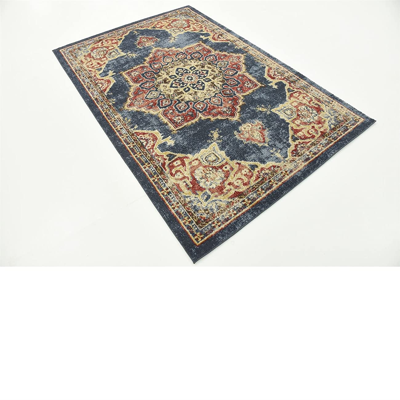 Traditional Persian Rugs Vintage Design Inspired Overdyed Fancy Dark Blue 4' x 6' FT (122cm x 183cm) St. James Area Rug 6