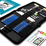 Drawing Pencils Art Supplies – 37 Sketching Art Set – Each art supply org Includes BONUS Sketch Book and Digital Library Drawing Tutorials Cool Stuff - Pencil Pouch, Graphite Charcoal Pencils, Erasers (Color: Black, Tamaño: 9.5 x 8 x 1)