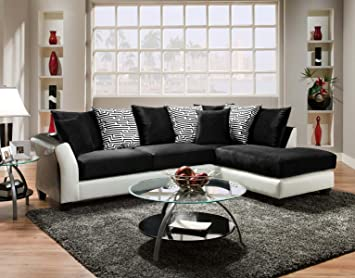 Chelsea Home Furniture Lambda 2-Piece Sectional, Jefferson Black/Avanti White