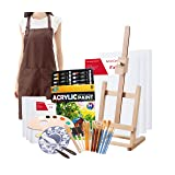 S & E TEACHER'S EDITION Complete Acrylic Paint Set, 60Pcs Professional Painting Supplies Set, Adjustable Easel, Canvases, Artist's Smock, Paint Palette, Paint Knives, Paintbrushes and More (Color: Adults 60Pcs)