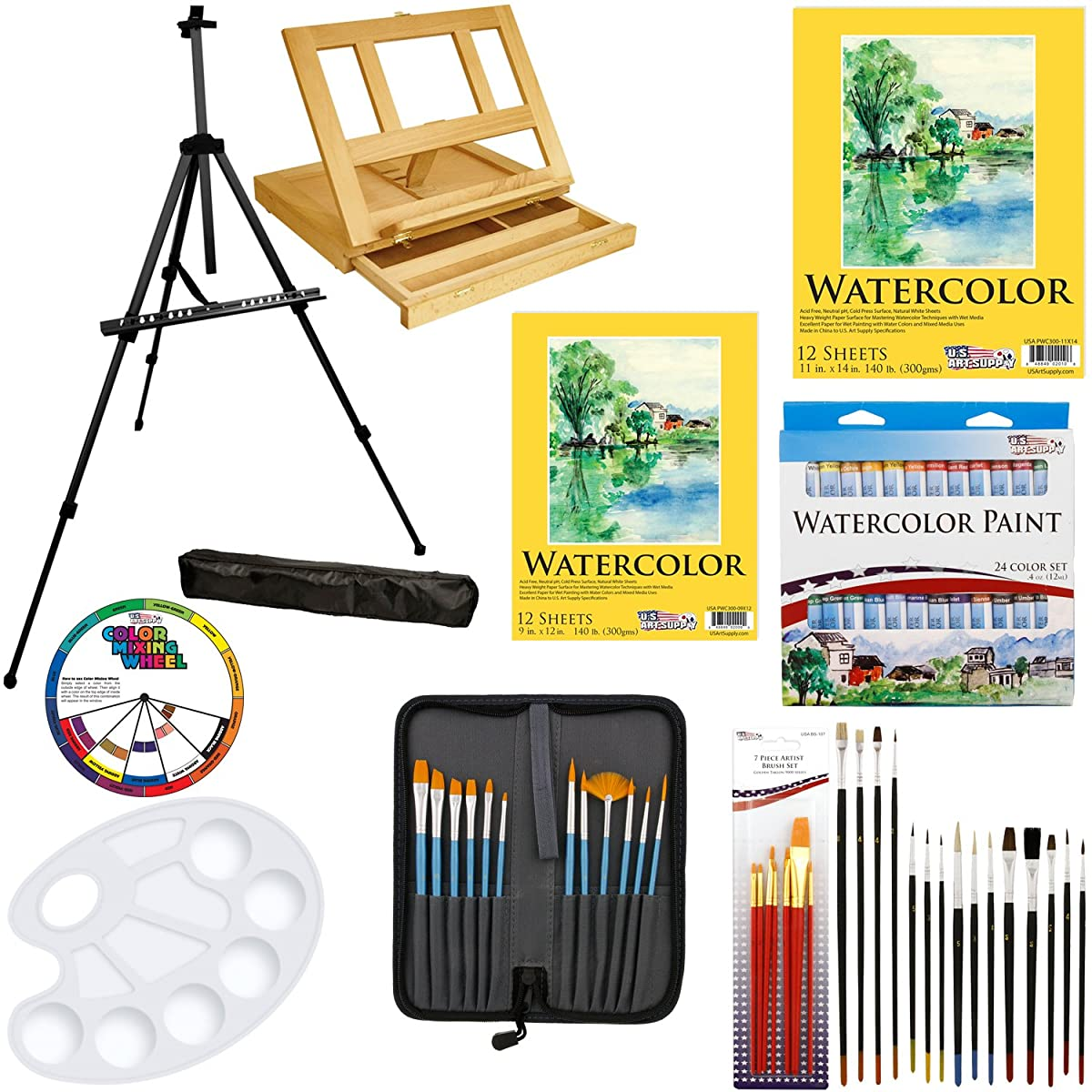 "US Art Supply 69-Piece Watercolor Paint Set with Aluminum Easel, Wood Table Easel, 24 Watercolor Colors, 9""x12"" Watercolor Paper Pad, 11""x14"" Watercolor Paper Pad, 34 Brushes, 10-Well Pallete"