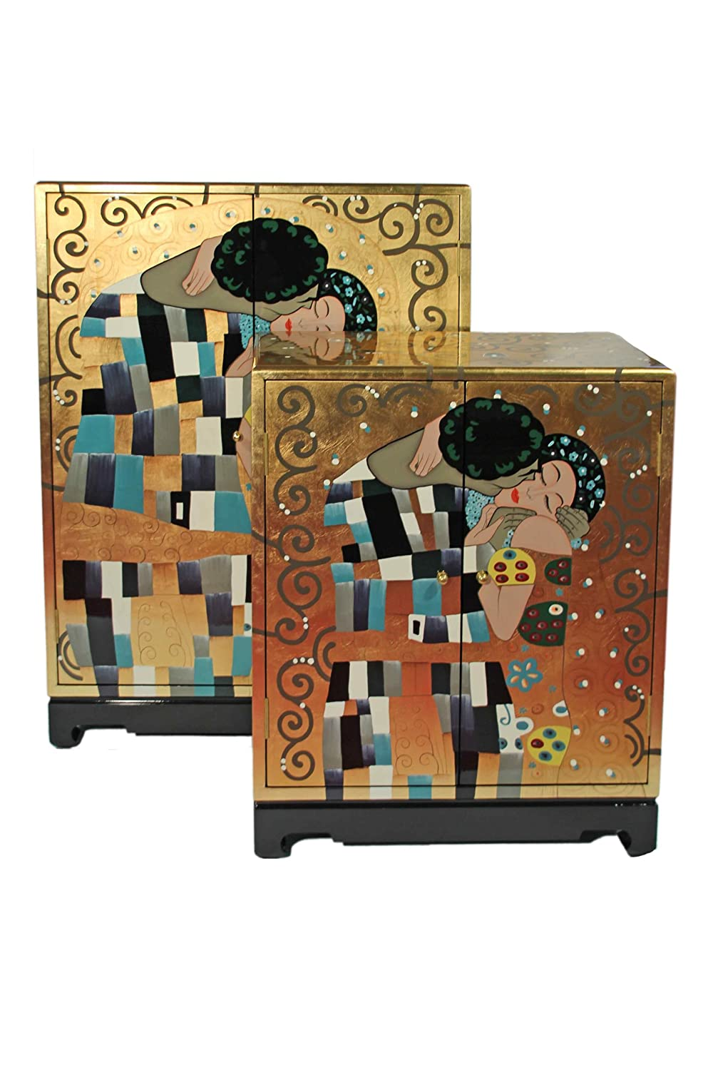 Casa Collection / Art for living by Jänig 10873 Schränke, 2-er Set, 2-türig, Der Kuß, Lack, Gustav Klimt, 102 x 74 x 43/77 x 61 x 35 cm