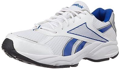 Reebok Men's Luxor LP White, Royal Blue and Silver Mesh Running Shoes 11 UK