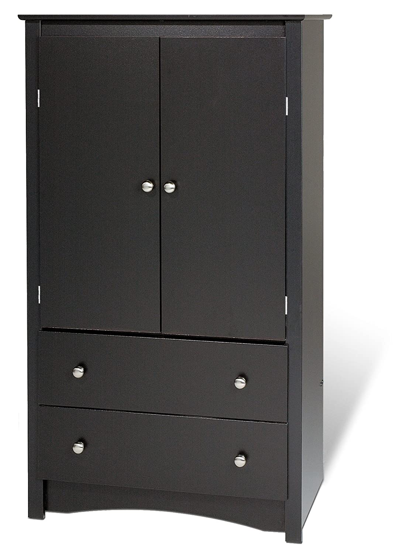 prepac sonoma 2 drawer armoire in black bdc 3359 k 31 5. Black Bedroom Furniture Sets. Home Design Ideas