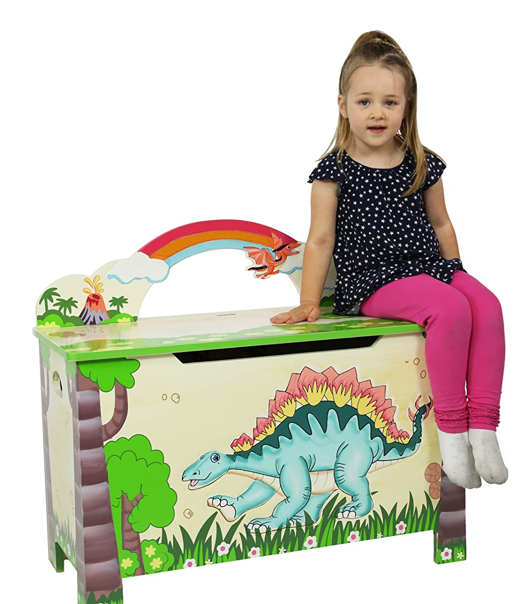 Dinosaur Kingdom Thematic Kids Wooden Toy Chest