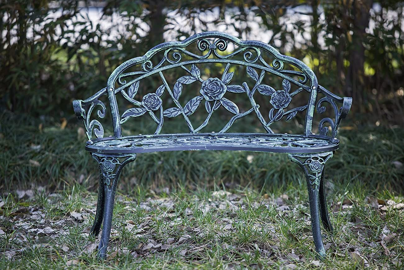 Merax Cast Iron Antique Rose Style outdoor Patio Garden Park Bench, Cast Iron 2