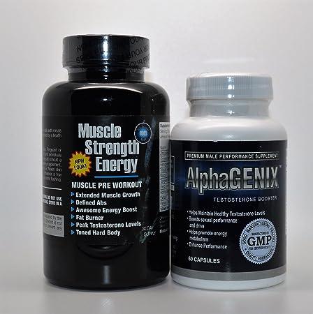 Progain 350 Muskelkraft Energie Muskel Pre Training & AlphaGENIX Testosteron Booster 90 Kapseln Fitnessstudio & Muskel Set