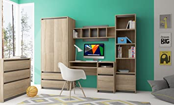 children teenager youth furniture bedroom playroom set computer desk wardrobe bookcase bookstand wall mounted unit
