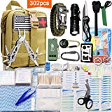 Monoki First Aid Survival Kit, 302Pcs Tactical Molle EMT IFAK Pouch Outdoor Gear EDC Emergency Survival Kits First Aid Kit Trauma Bag for Hiking Camping Hunting Car Travel or Adventures (Mud Yellow) (Color: Mud Yellow)
