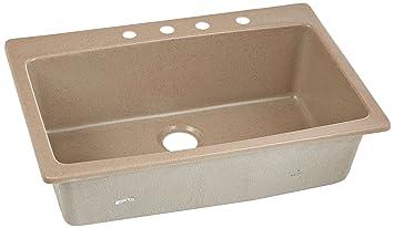 "Dekor Sinks 70404Q Northampton Composite Granite Single Bowl Kitchen Sink with Four Holes, 33"", Natural"
