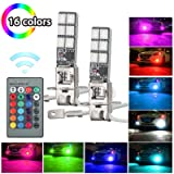 LinkStyle 2pcs 12V High Power 5050 12SMD Multicolor RGB LED Fog Lights for Cars Trucks Remote Control Flashing Lamp Bulb (H3) + Remote Control
